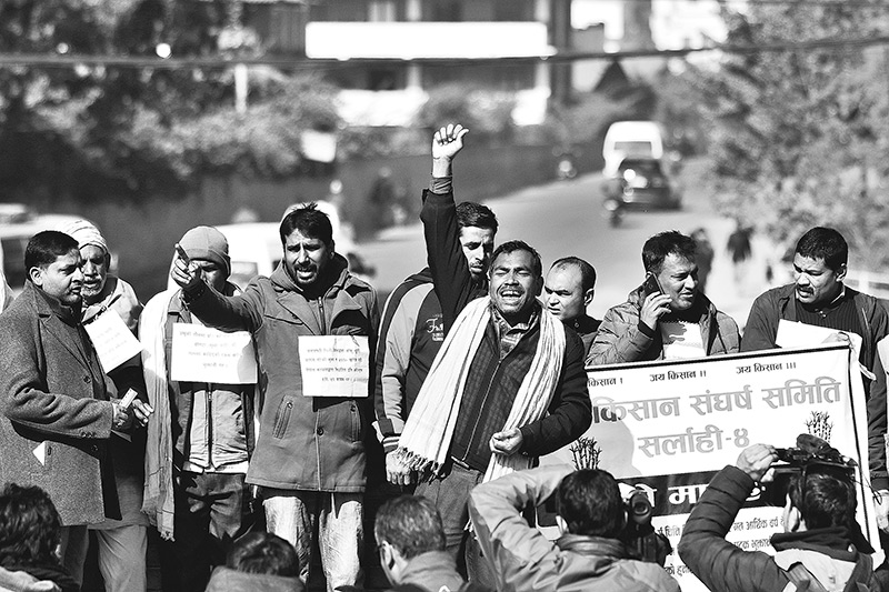 Sugarcane farmers from Sarlahi district had come to Kathmandu for the protest. Post file Photo