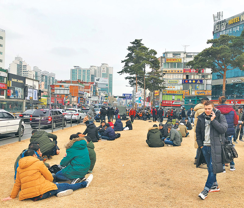 Nepali migrants working in South Korea often meet and relax at Dongdaemun, a commercial district near Seoul. post photo: hom karki